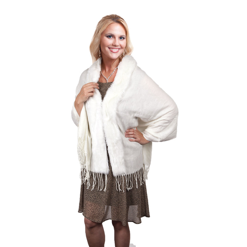 LUCIA WHITE FAUX FUR TRIM SHAWL