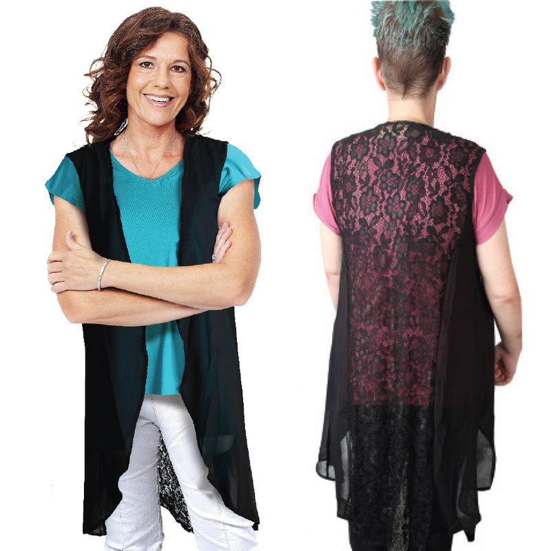 BLACK LACE BACK KAFTAN JACKET