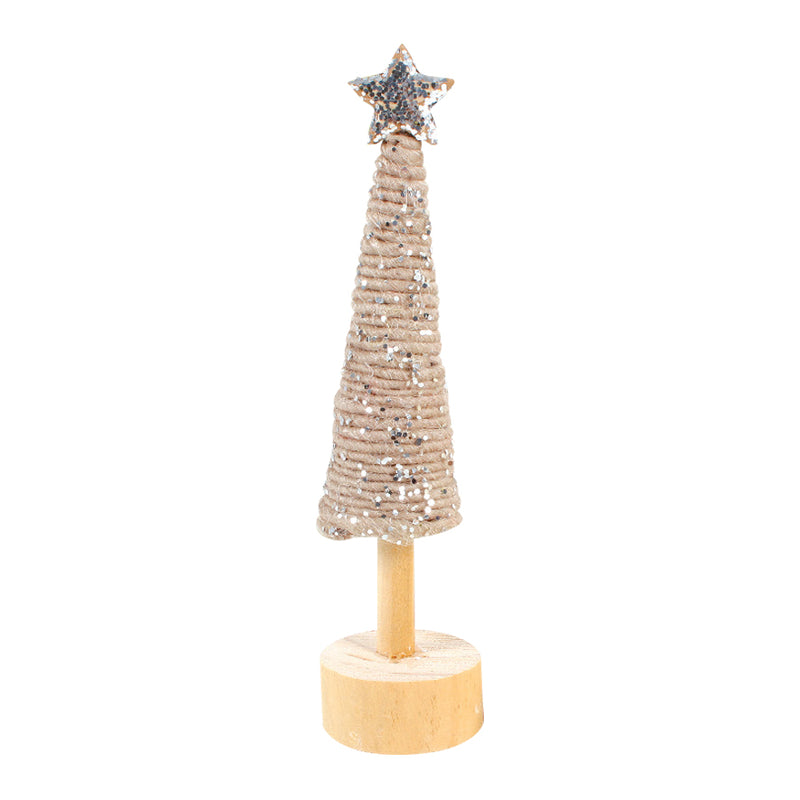 WOOL CHRISTMAS TREE ON WOODEN BASE