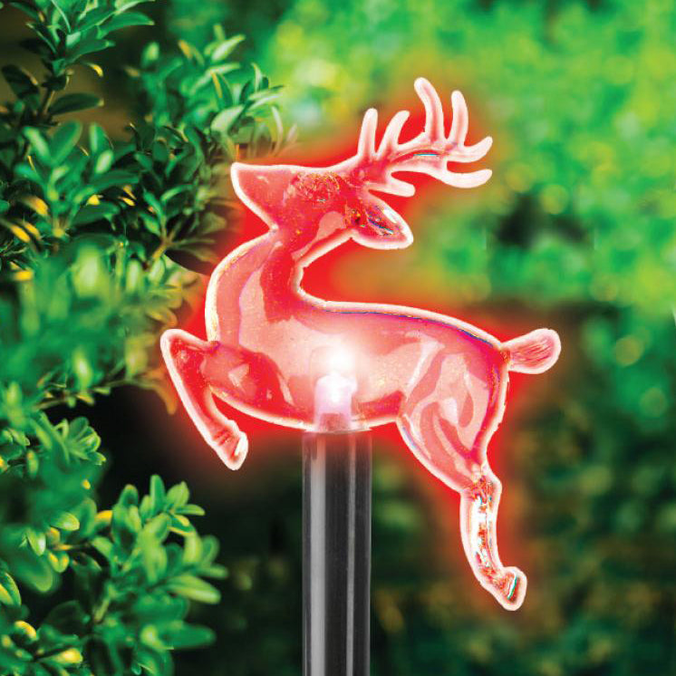 SET OF 10 LED COLOUR CHANGING REINDEER STAKE LIGHTS