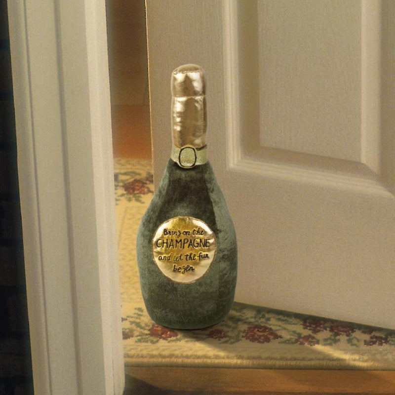 PLUSH CHAMPAGNE BOTTLE DOOR STOP