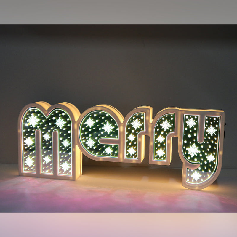 MIRRORED MERRY LIGHT UP DISPLAY
