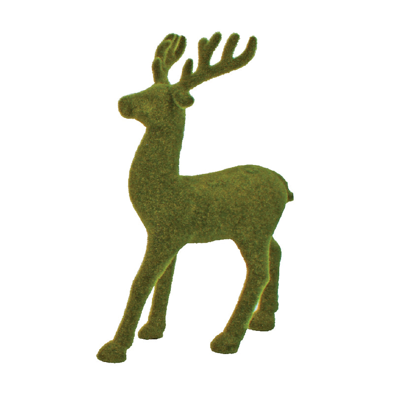 LARGE FLOCKED REINDEER DISPLAY