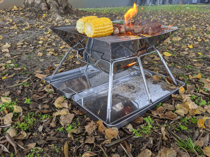 FRONTIER 360 SSTEEL FOLD BBQ FIREPIT 42X36.5X35C  CARRY BAG