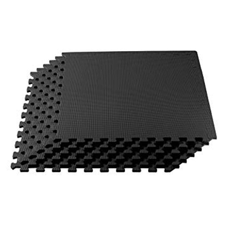 FOAM FLOOR MATS 4PK BLACK 600X600MM