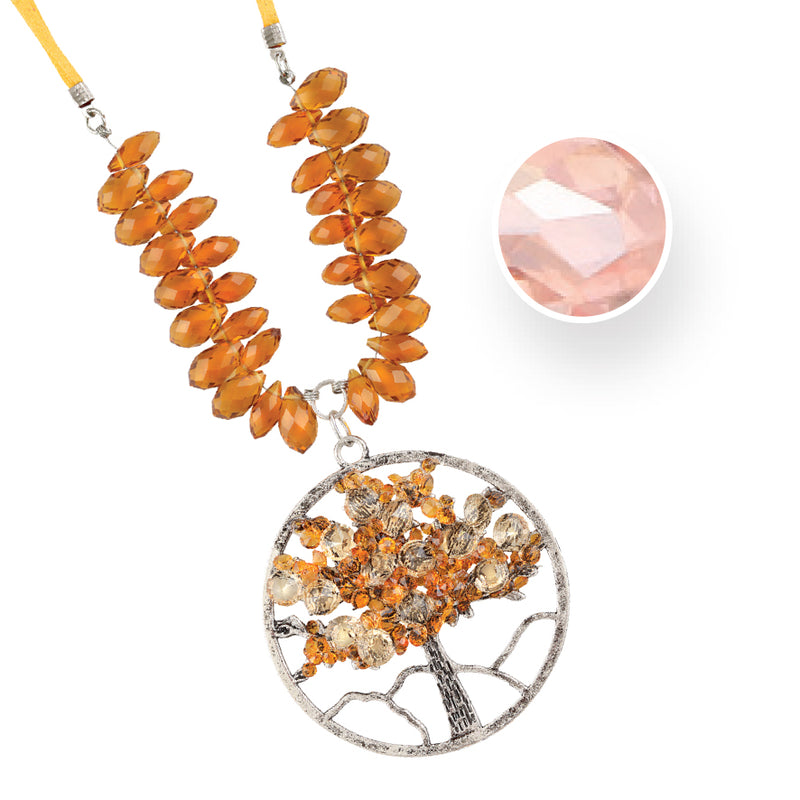 TREE OF LIFE OCTOBER ROSE ZIRCONIA NECKLACE