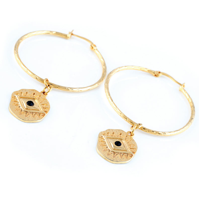'EVIL EYE' CHARM HOOP EARRINGS