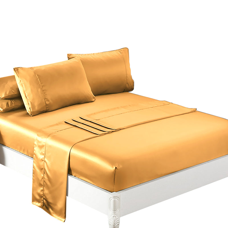 DreamZ Ultra Soft Silky Satin Bed Sheet Set in Queen Size in Gold Colour