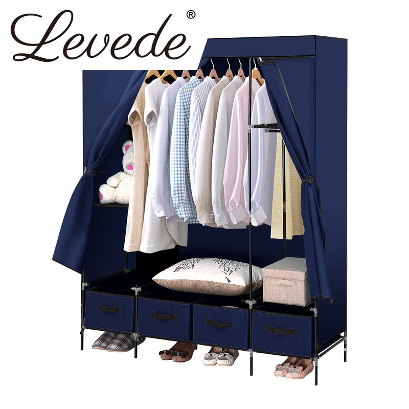 Levede Portable Wardrobe Clothes Closet Storage Cabinet 4 Drawer Navy Blue