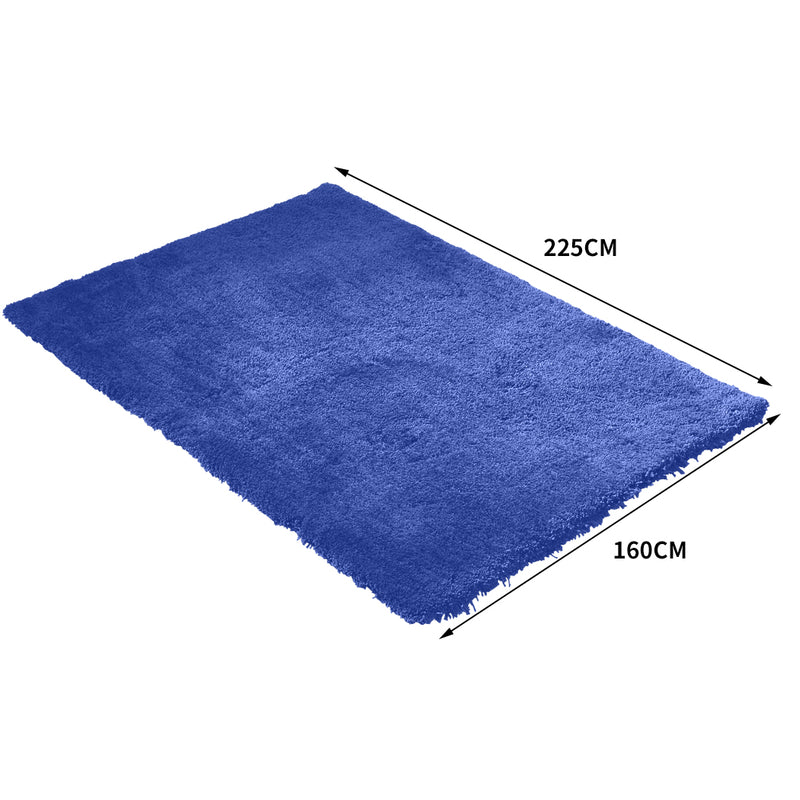 Ultra Soft Anti Slip Rectangle Plush Shaggy Floor Rug Carpet in Blue 160x225cm