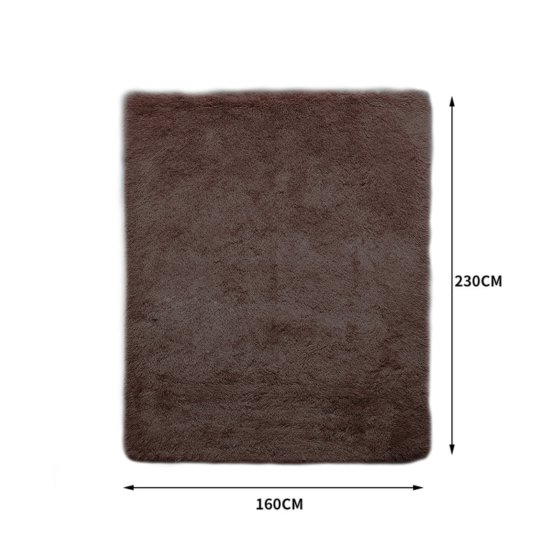 Designer Soft Shag Shaggy Floor Confetti Rug Carpet Home Decor 160x230cm Coffee