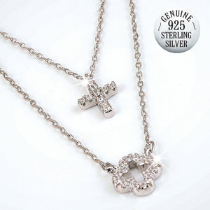 STERLING SILVER DOUBLE CROSS NECKLACE
