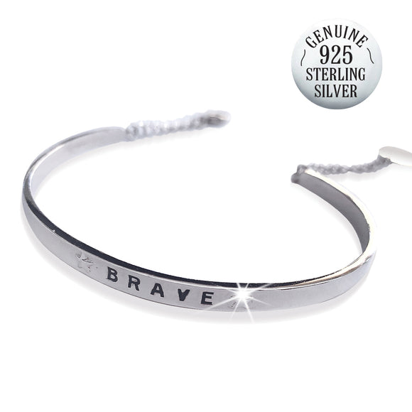 STERLING SILVER BE BRAVE BANGLE