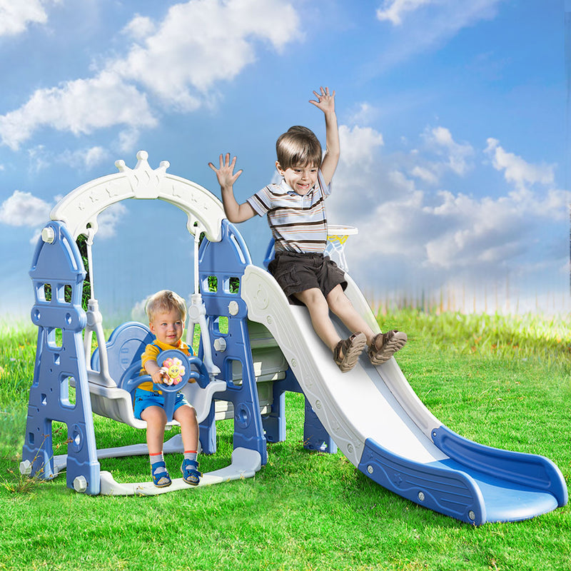 Kids Slide Swing Basketball Ring Hoop Activity Center Toddlers Play Set Outdoor