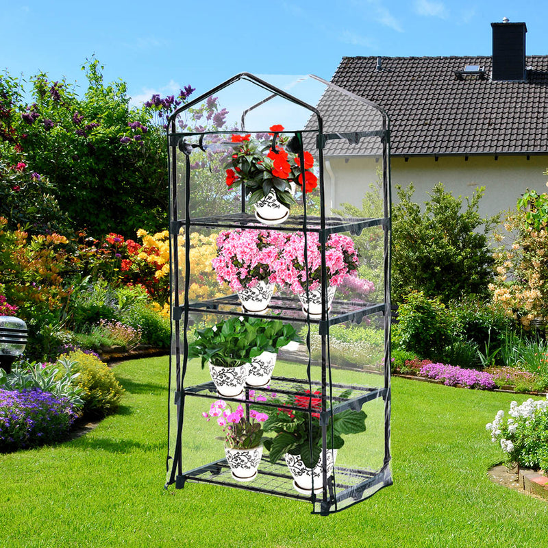 4 Tier Mini Greenhouse Garden Shed PVC Cover Film Frame Tunnel Plant Green House