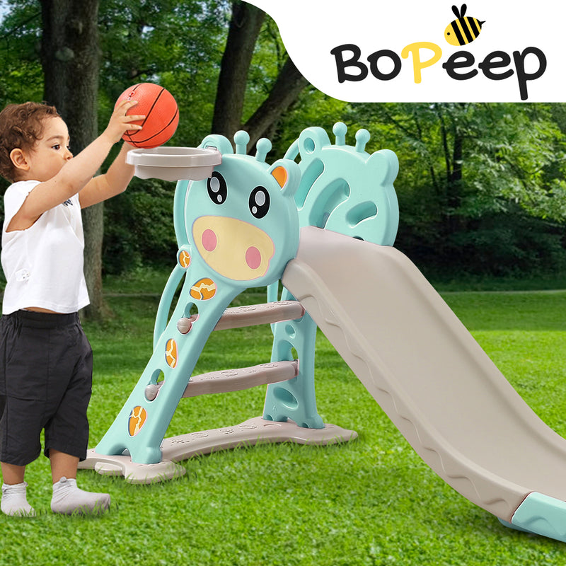 BoPeep Kids Slide Outdoor Basketball Ring Activity Center Toddlers PlaySet Green