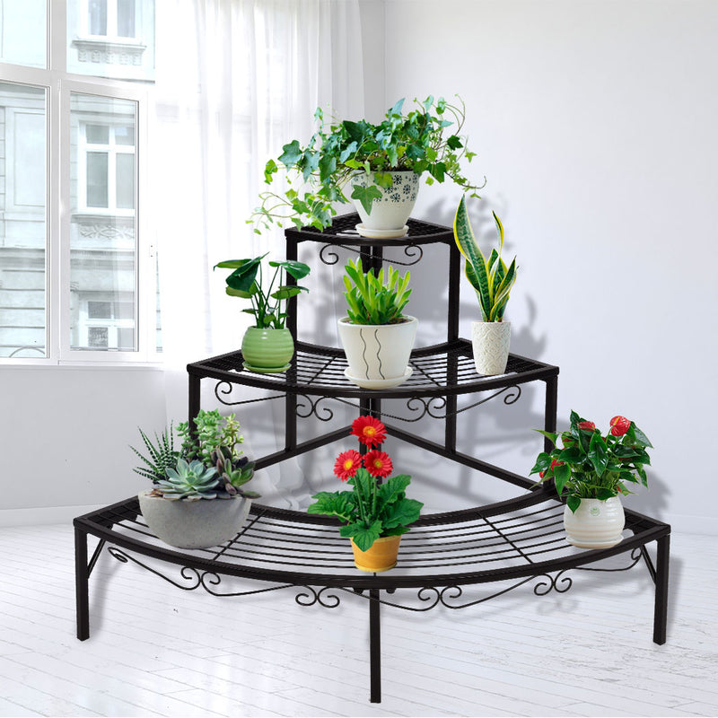 2x Levede Outdoor Indoor Plant Stand Garden Metal 3 Tier Planter Corner Shelf