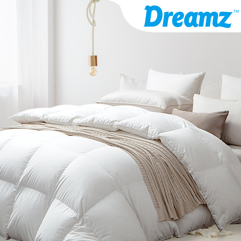 DreamZ 500GSM All Season Goose Down Feather Filling Duvet in King Single Size