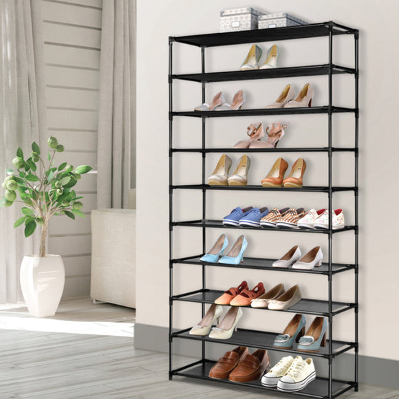 BLACK 10-TIER METAL STORAGE SHOE RACK