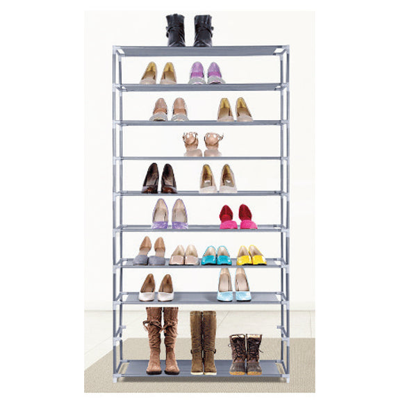 GREY 10-TIER METAL STORAGE SHOE RACK