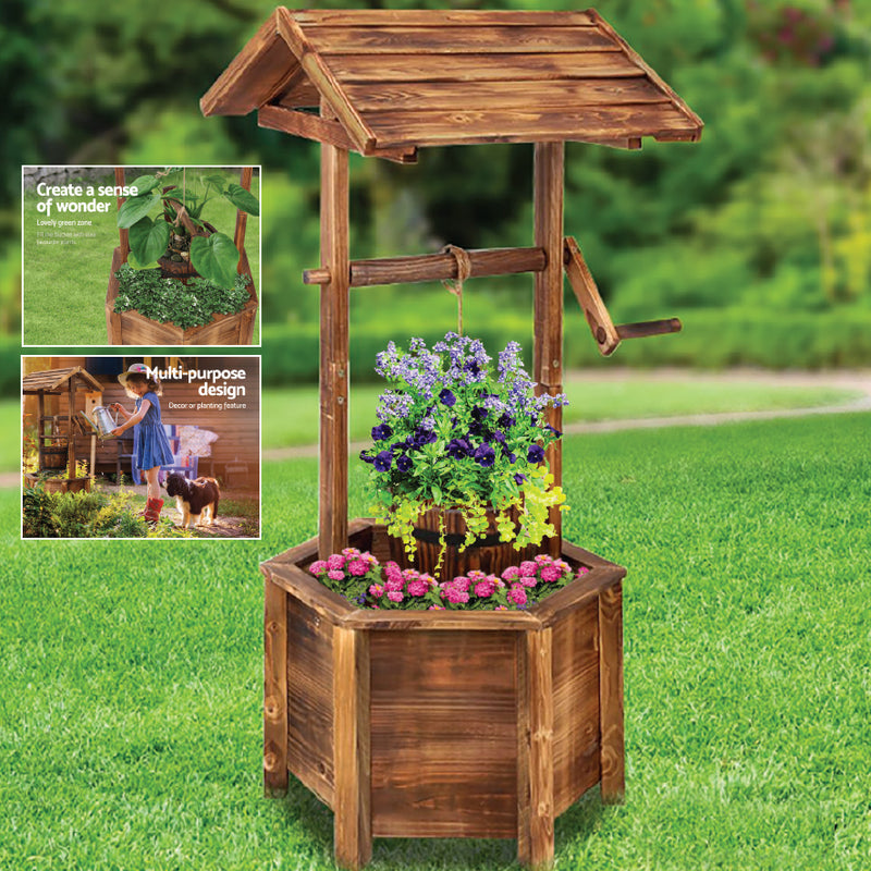 GARDEN OUTDOOR WOODEN WISHING WELL PLANTER