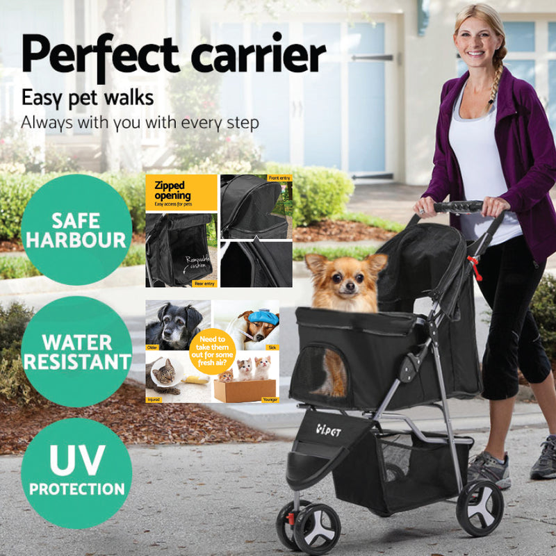 SMALL PET 3 WHEEL PET STROLLER
