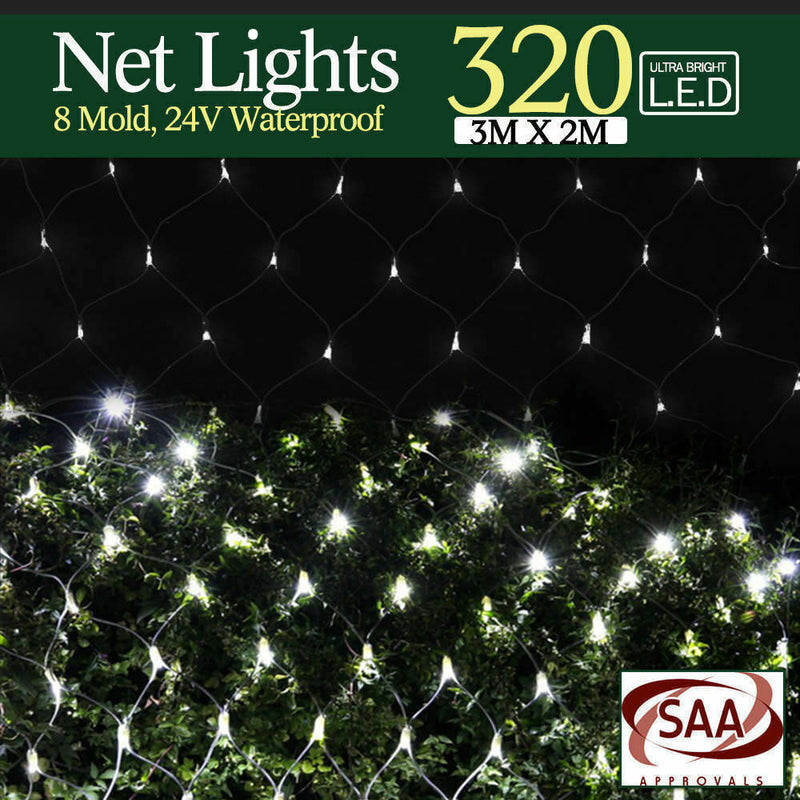 320LED Fairy Lights Net Mesh Curtain Wedding Party XMAS Tree D?cor Cool White