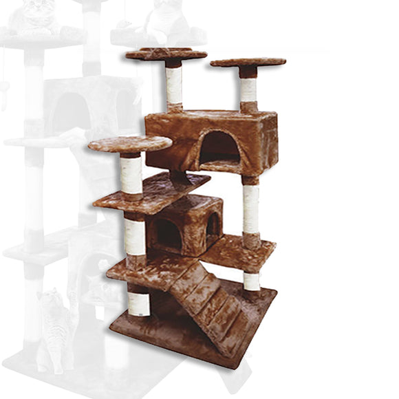 BROWN CAT SCRATCHING TREE