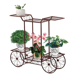 BRONZE COLOURED 6-TIER METAL CART PLANT STAND