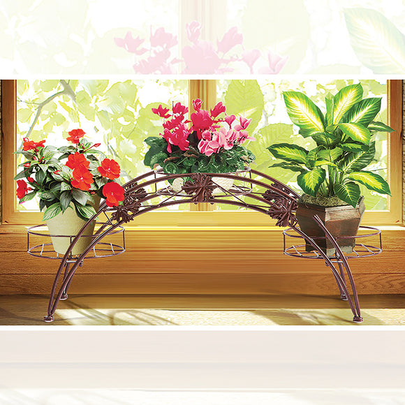 BRONZE 3-TIER METAL ARCH PLANT STAND