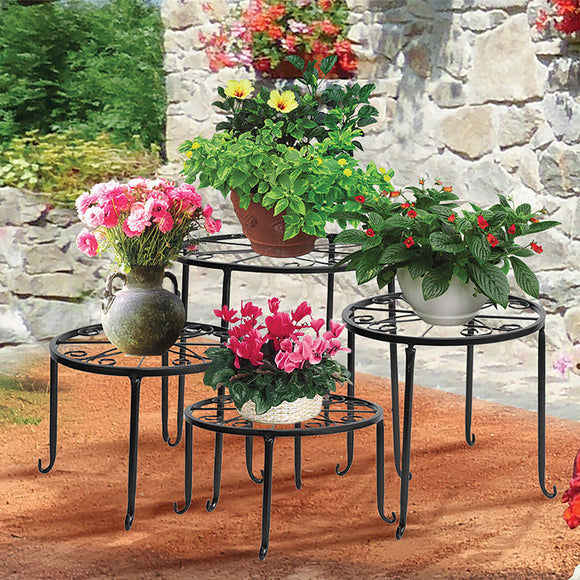 BLACK 4-PIECE METAL PLANT STAND