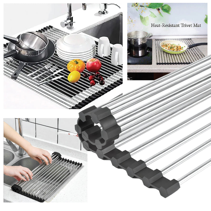 space saving roll up dish rack