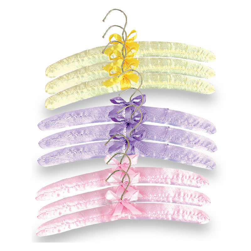 SET OF 9 SATIN COAT HANGERS