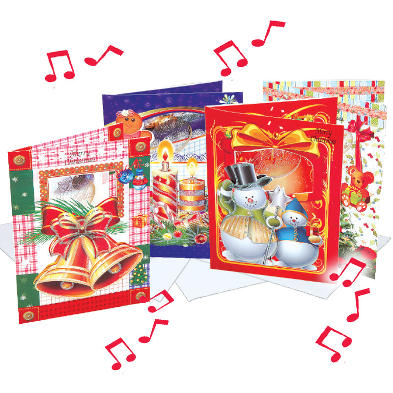 SET OF 4 MUSICAL CHRISTMAS CARDS