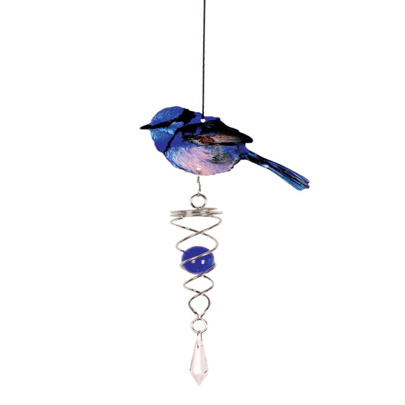 BLUE WREN CRYSTAL SUN CATCHER
