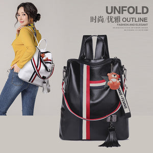 Fashion Zipper Backpack PU Leather School Bag Shoulder Bag