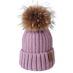 Knitted Real Fur Beanie Raccoon Fur