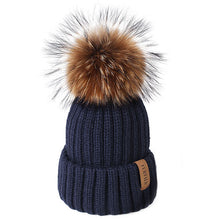 Load image into Gallery viewer, Knitted Real Fur Beanie Raccoon Fur