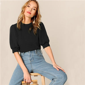 Puff Sleeve Keyhole Back Solid Top And Blouse