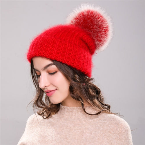 Rabbit Fur Knitted Beanie Cap