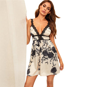 Multicolor Print Contrast Lace Satin Sexy Cami Night Dress