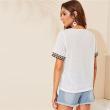 Load image into Gallery viewer, Embroidered Tape Trim Short Sleeve Boho Casual Top