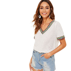 Embroidered Tape Trim Short Sleeve Boho Casual Top