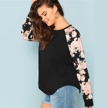 Load image into Gallery viewer, Floral Print Raglan Long Sleeve Casual Tee