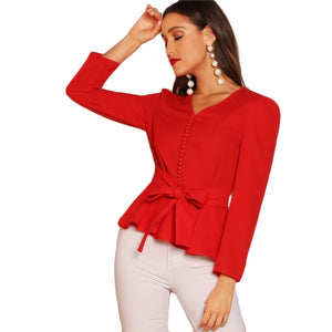 Red Button Detail Knot V-Neck Top