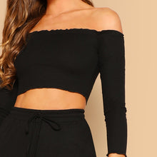 Load image into Gallery viewer, 2 Piece Set Casual Off the Shoulder Crop Top and Drawstring Pants