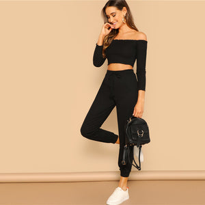 2 Piece Set Casual Off the Shoulder Crop Top and Drawstring Pants