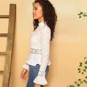 Lace Insert Embroidered Eyelet Peplum Blouse