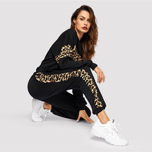 Load image into Gallery viewer, Black Leopard Sweatshirt and Sweatpants Set