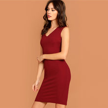Load image into Gallery viewer, Pencil Dress Solid Sleeveless V Neck Bodycon Dress